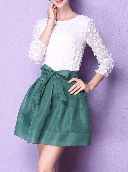 Chiffon 3/4 Sleeve Two Piece Mini Dress