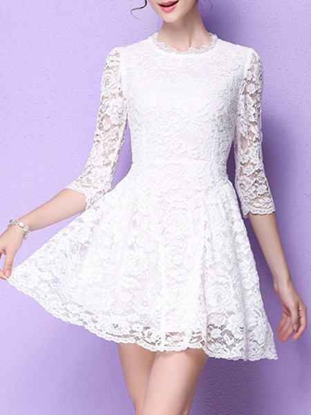White Girly A-line Mesh Mini Dress