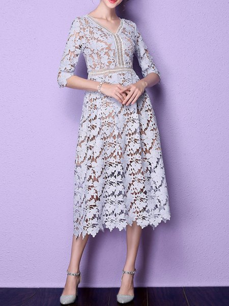 Purple A-line V Neck Lace Girly Midi Dress