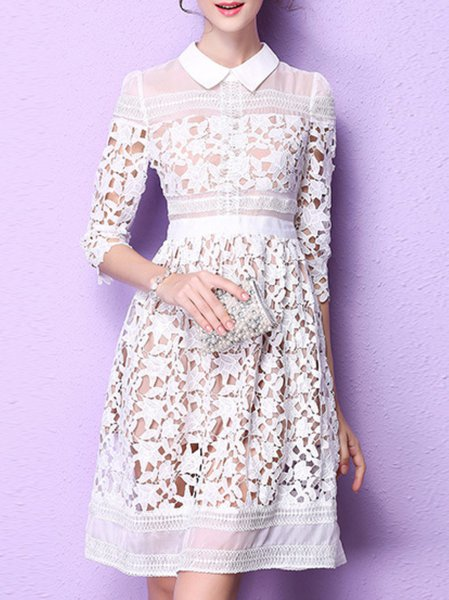 White Paneled Girly A-line Shirt Collar Midi Dress