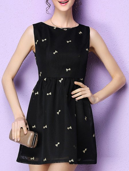 Abstract Sleeveless Girly Mini Dress