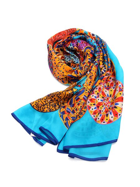 Blue Boho Abstract Printed Silk Scarf