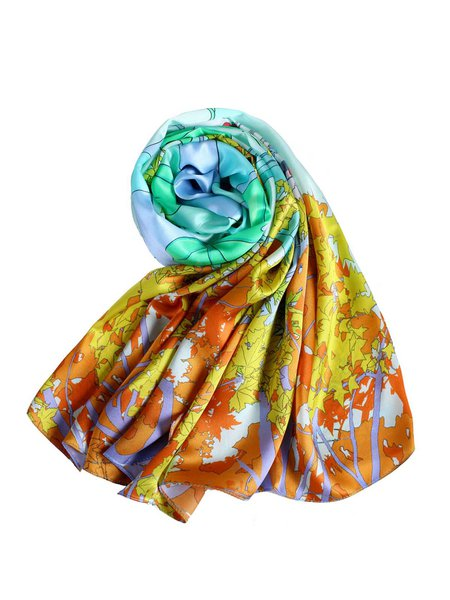 Light Green Casual Silk Printed Abstract Scarf
