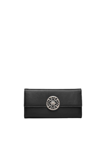 Black Snap Casual Cowhide Leather Wallet