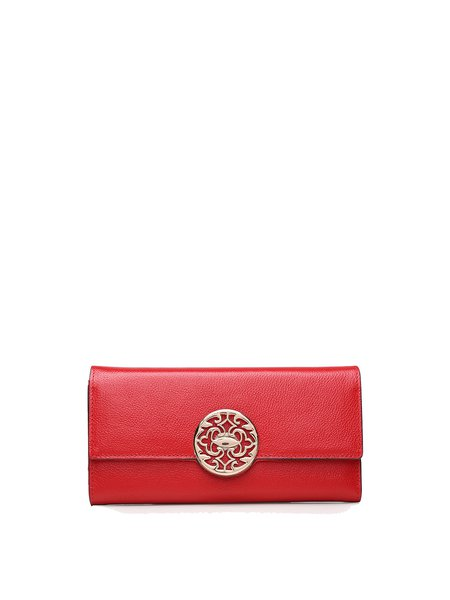 Red Cowhide Leather Casual Snap Wallet