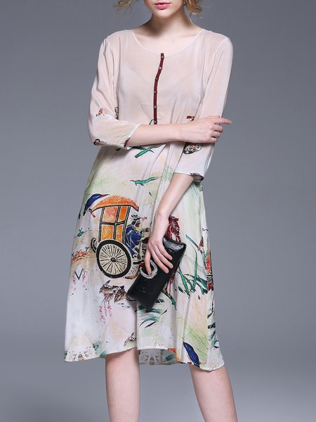 Apricot Vintage A-line Silk Crew Neck Midi Dress