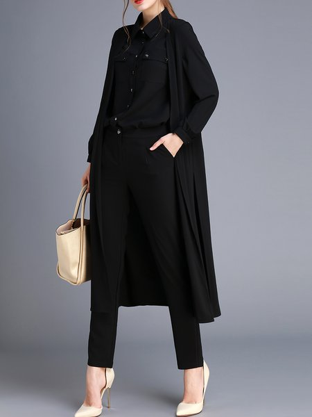 Black Long Sleeve Plain Three Pieces Polyester Jumpsuit