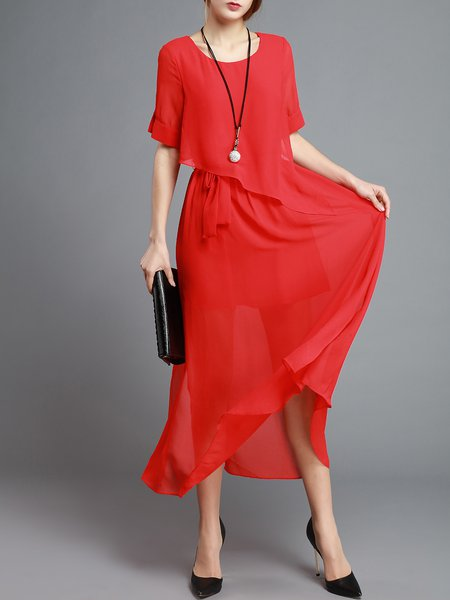 Plain Swing Crew Neck Casual Short Sleeve Midi Dress