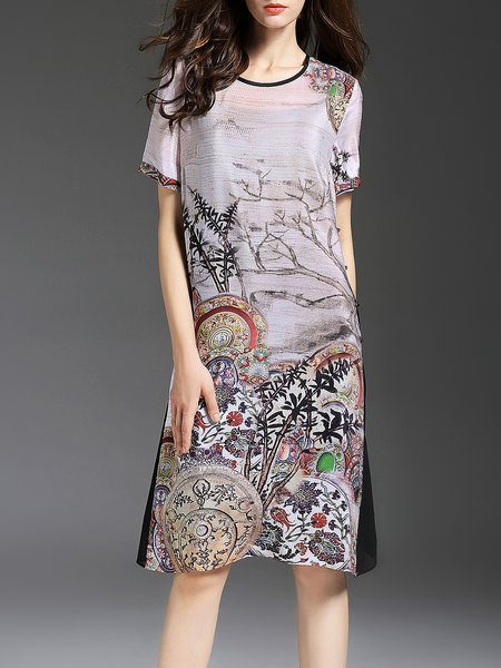 Multicolor Vintage Printed H-line Graphic Midi Dress