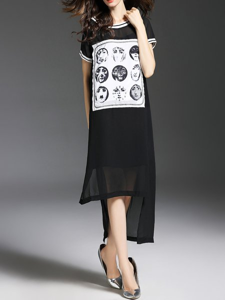 Black Short Sleeve High Low Chiffon Midi Dress