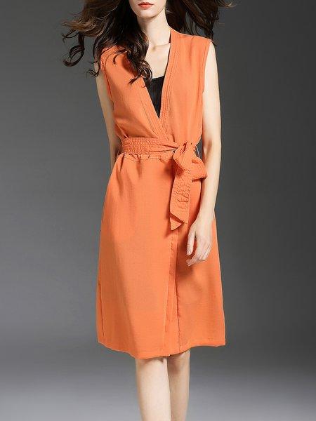Sleeveless Two Piece Surplice Neck Elegant Plain Midi Dress