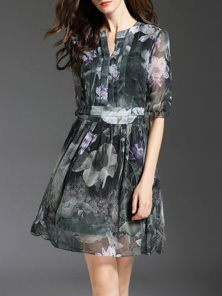 Floral-print Elegant Half Sleeve A-line Mini Dress