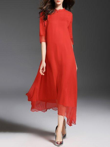 Half Sleeve Vintage Silk Swing Midi Dress