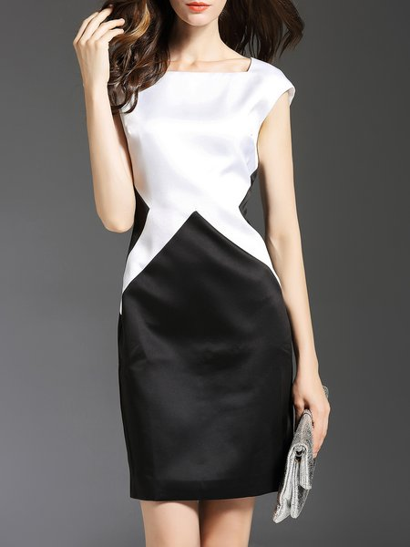 White Color-block Sheath Square Neck Midi Dress