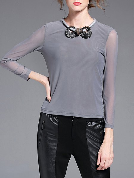 Light Gray Acrylic Crew Neck Mesh Paneled Casual Long Sleeved Top