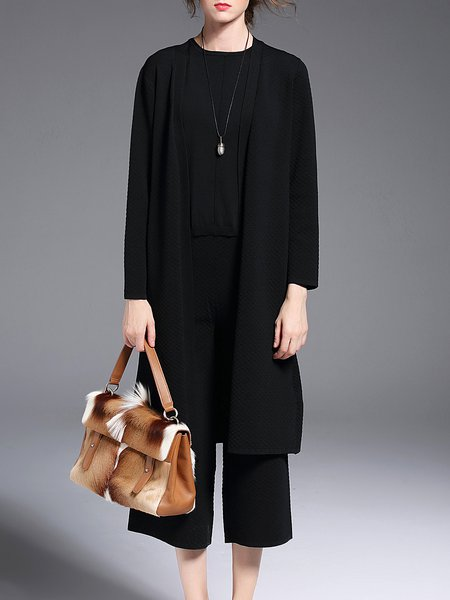 Black Plain Knitted Silk-blend Three Pieces Work Jumpsuit