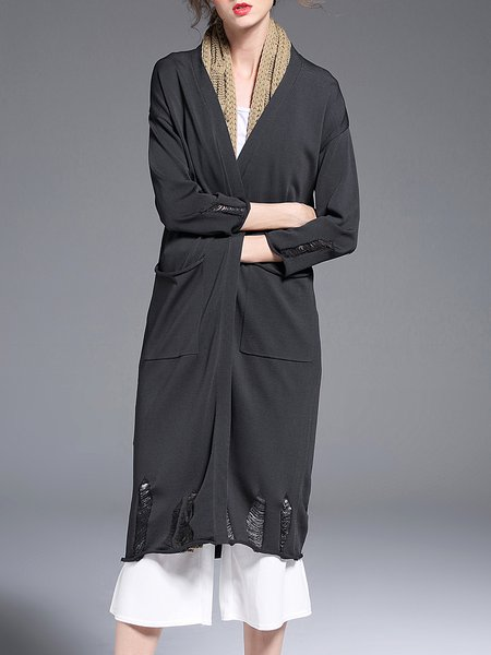 Gray Tear Silk-blend Knitted 3/4 Sleeve Coat