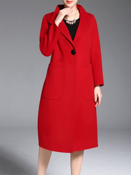 Red Wool Buttoned Pockets Lapel Simple Coat