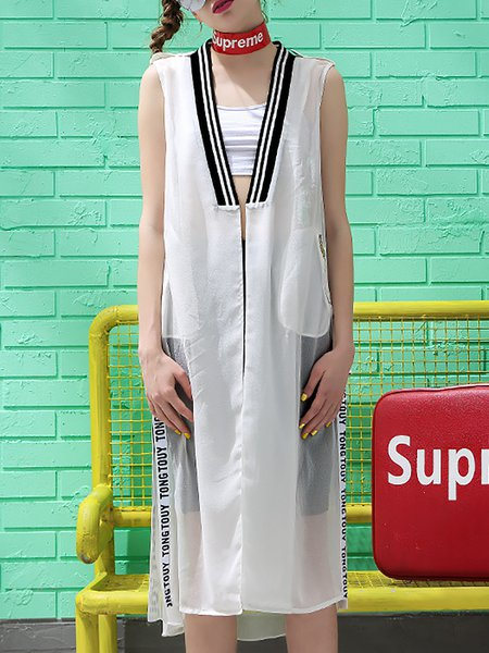 White Letter Paneled Chiffon Street Vest