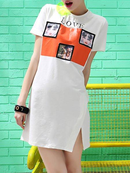 White Street Slit Crew Neck Mini Dress