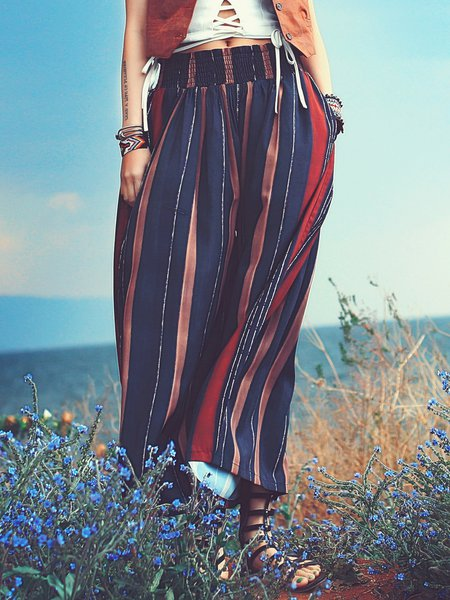 Coffee Boho Stripes Shirred Wide Leg Pants