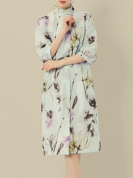 Light Blue Sheath Floral-print Vintage Silk-blend Midi Dress