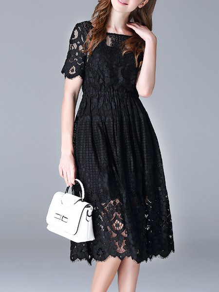 Black Sexy Lace Two Piece Midi Dress