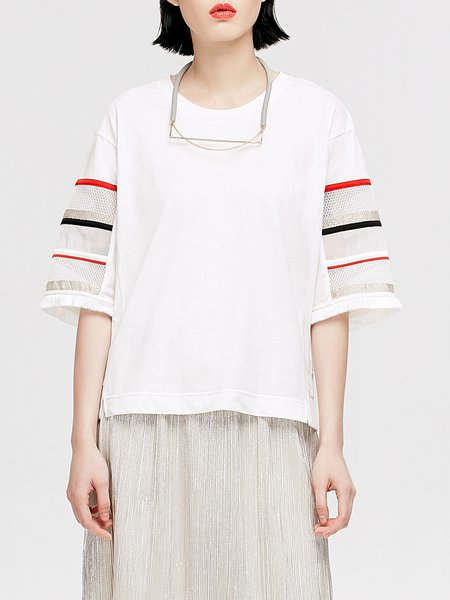 White Crew Neck Plain Casual Mesh Paneled T-Shirt