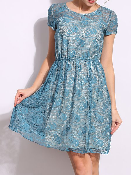 Girly A-line Lace Short Sleeve Crocheted Midi Dress