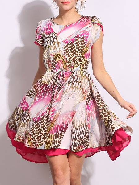 Drawstring Shirred Abstract Sweet Midi Dress