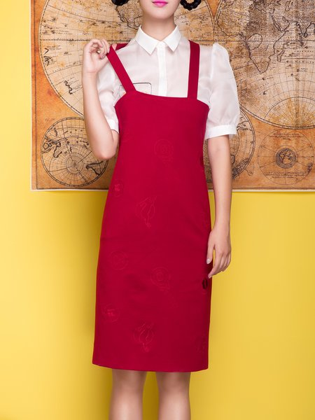 Wine Red Embroidered Cotton Plain Spaghetti Overall