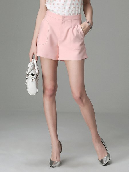 Pink Pockets Zipper Casual Woven Shorts