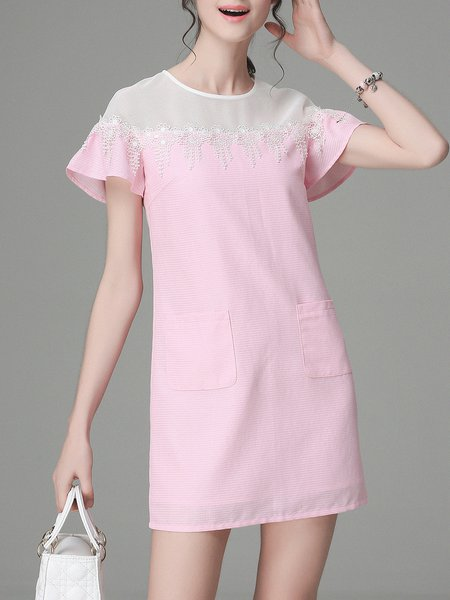 Pink Crew Neck Girly H-line Paneled Mini Dress