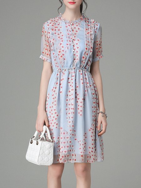 Multicolor Chiffon Girly Midi Dress