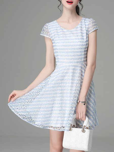 Light Blue Girly Jacquard Stripes A-line Mini Dress