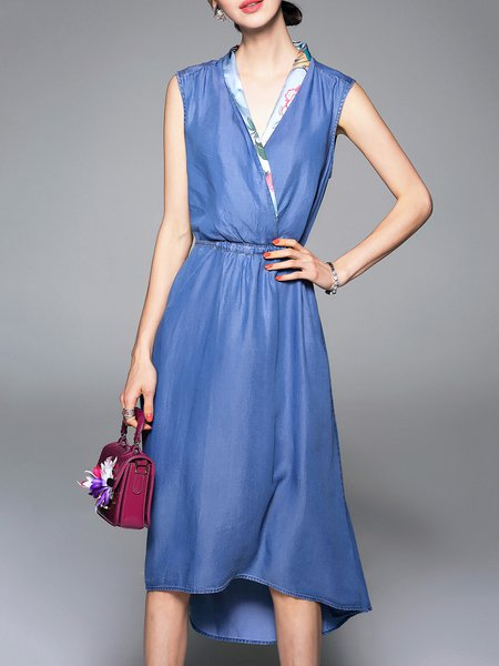 Blue V-neck Denim Sleeveless Midi Dress with Belt