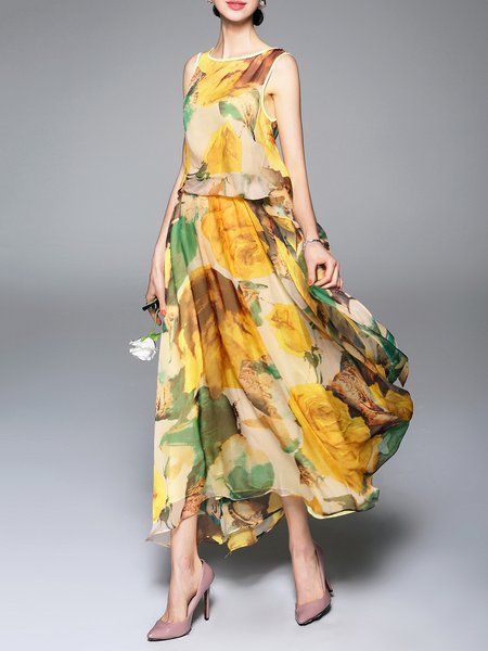 Multicolor Swing Printed Casual Crew Neck Maxi Dress