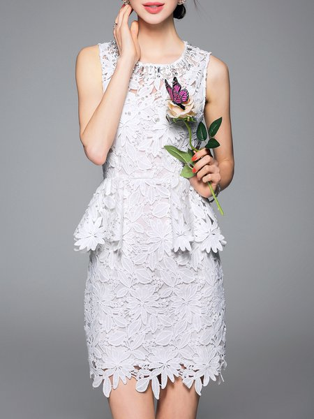 Sheath Crew Neck Lace Sleeveless Elegant Mini Dress