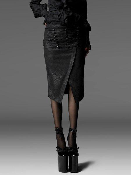 Black Beaded Bodycon Cotton-blend Sexy Midi Skirt