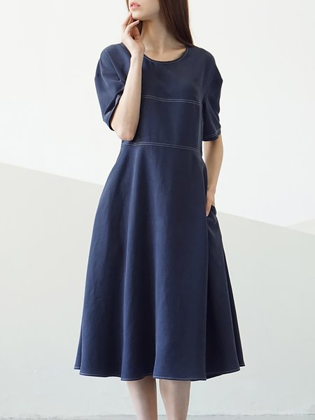 Pockets Casual Short Sleeve Midi Dress