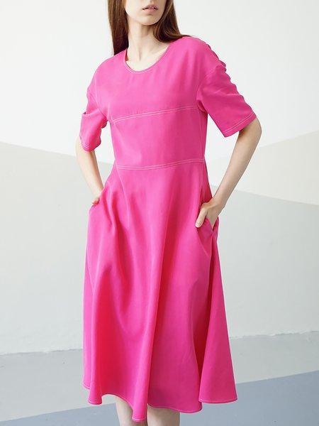 Pockets Casual Short Sleeve Midi Dress