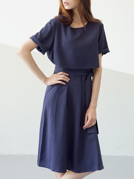 Navy Blue Short Sleeve A-line Rayon Midi Dress with Belt