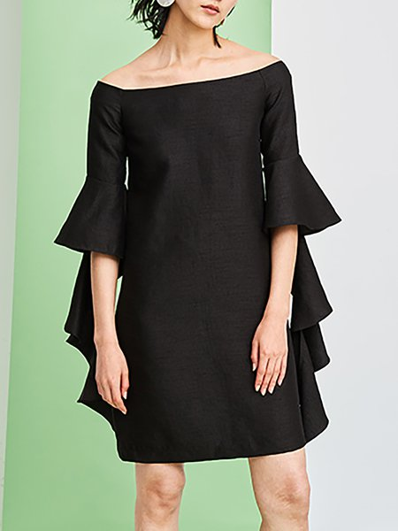 Black Plain Frill Sleeve Off-shoulder Viscose Mini Dress