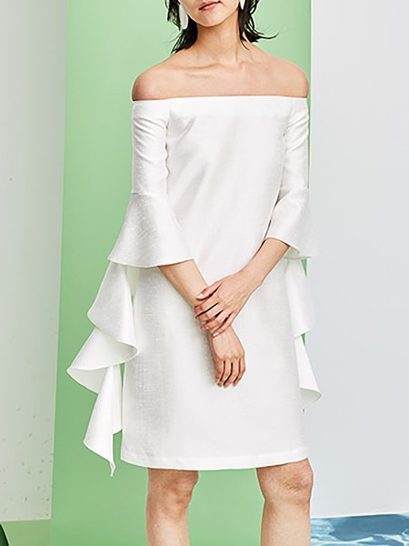 White Plain Frill Sleeve Off-shoulder Viscose Mini Dress