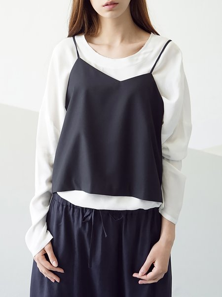 Black Plain Simple Spaghetti Camis
