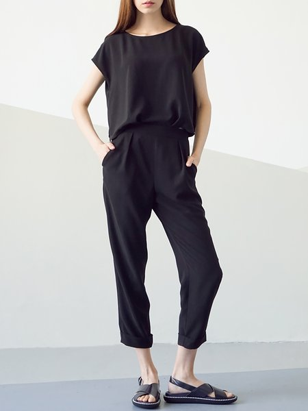 Black Chiffon Pockets Buttoned Short Sleeve Jumpsuit