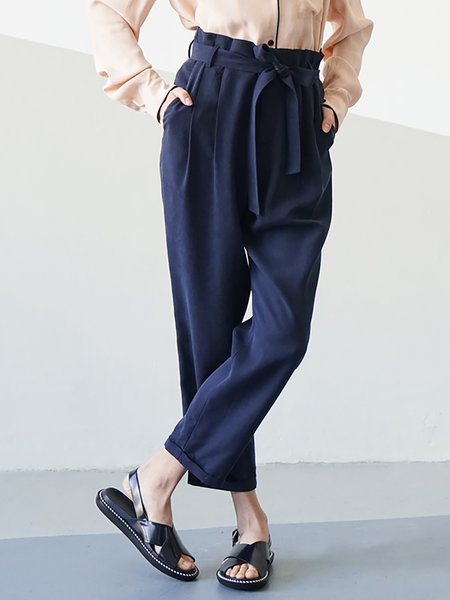 Navy Blue Rayon Simple Plain Pockets Straight Leg Pants