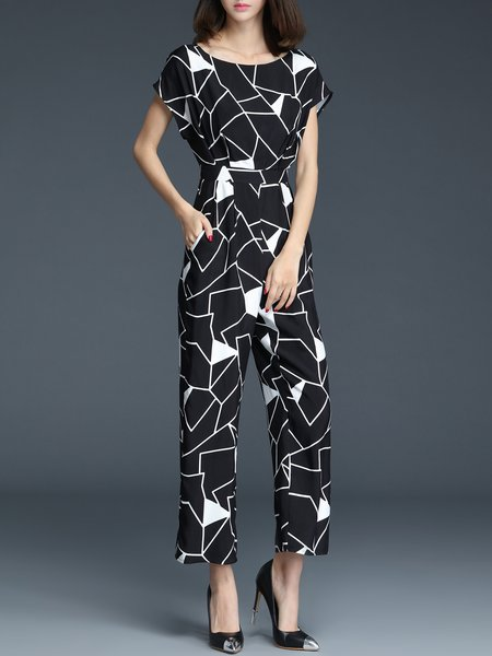 Black Rayon Geometric Work Boat Neck Jumpsuit