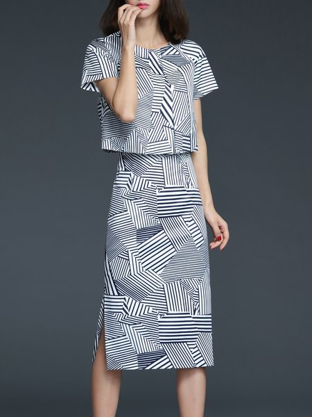 Multicolor Short Sleeve Two Piece Stripes Midi Dress