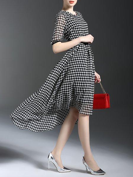 Half Sleeve Silk Plaid Midi Dress with Belt